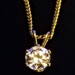 Vintage cz solitaire pendant
